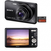 Camera Digital Cyber-shot DSC-W690  Preta 10x Zoom , Foto Panorâmica 360º, Menu Diversão com 4 efeitos, Filma em HD, Lentes Sony G, LCD 3.0